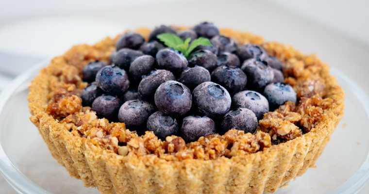 アーモンドチョコクリームとブルーベリーのタルト Vegan・Gluten free almond chocolate cream with organic blueberry tart