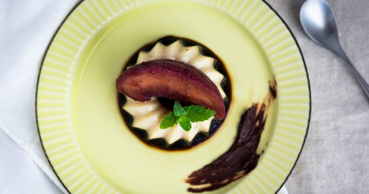 Collaboration with BIO Marche Vol.10 – コーヒーゼリー桃のワインコンポート添え Vegan and Gluten free Coffee jelly with peach compote