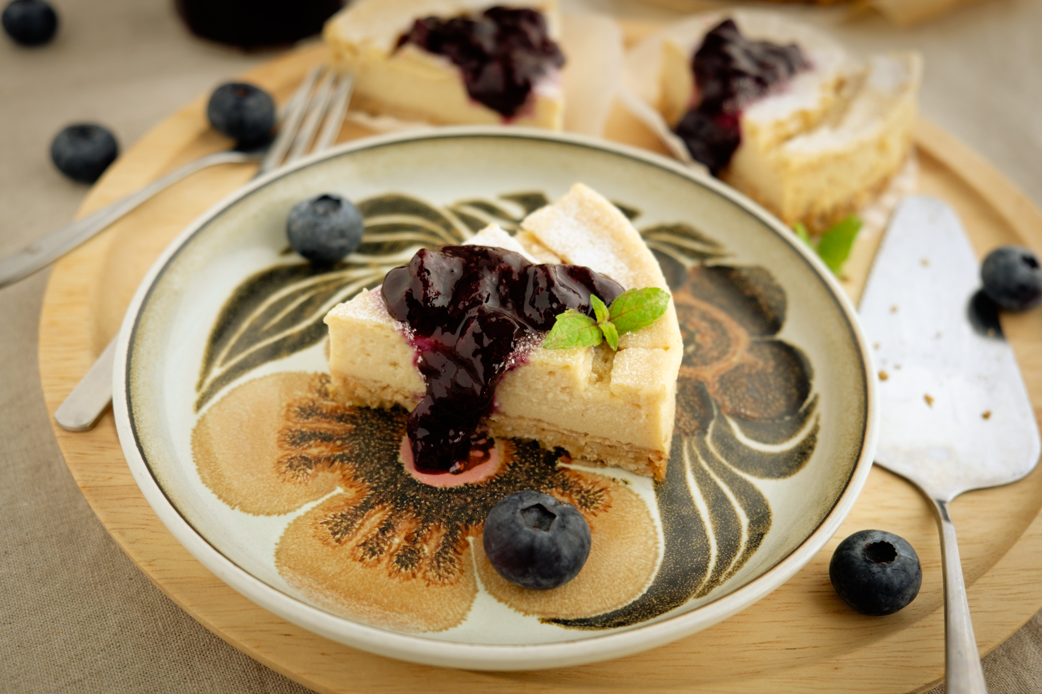 Collaboration with BIO Marche Vol.33 – 有機ブルーベリーのベイクドチーズケーキ Vegan and gluten free baked blueberry cheese cake